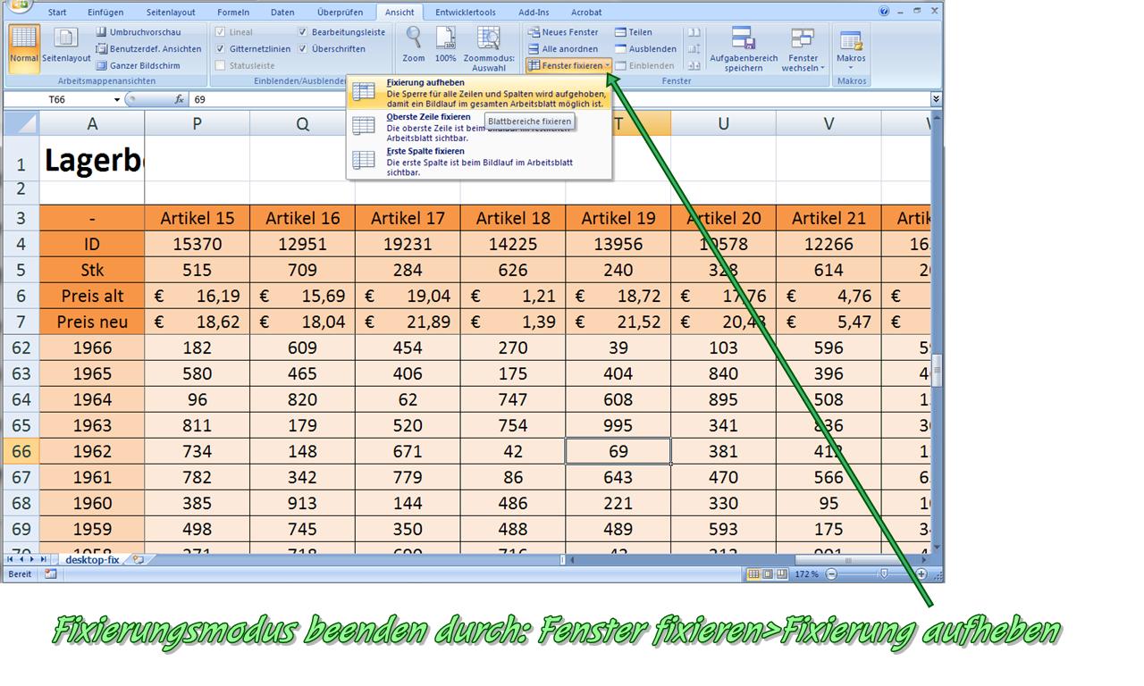 Excel 2007 Zeile Fixieren