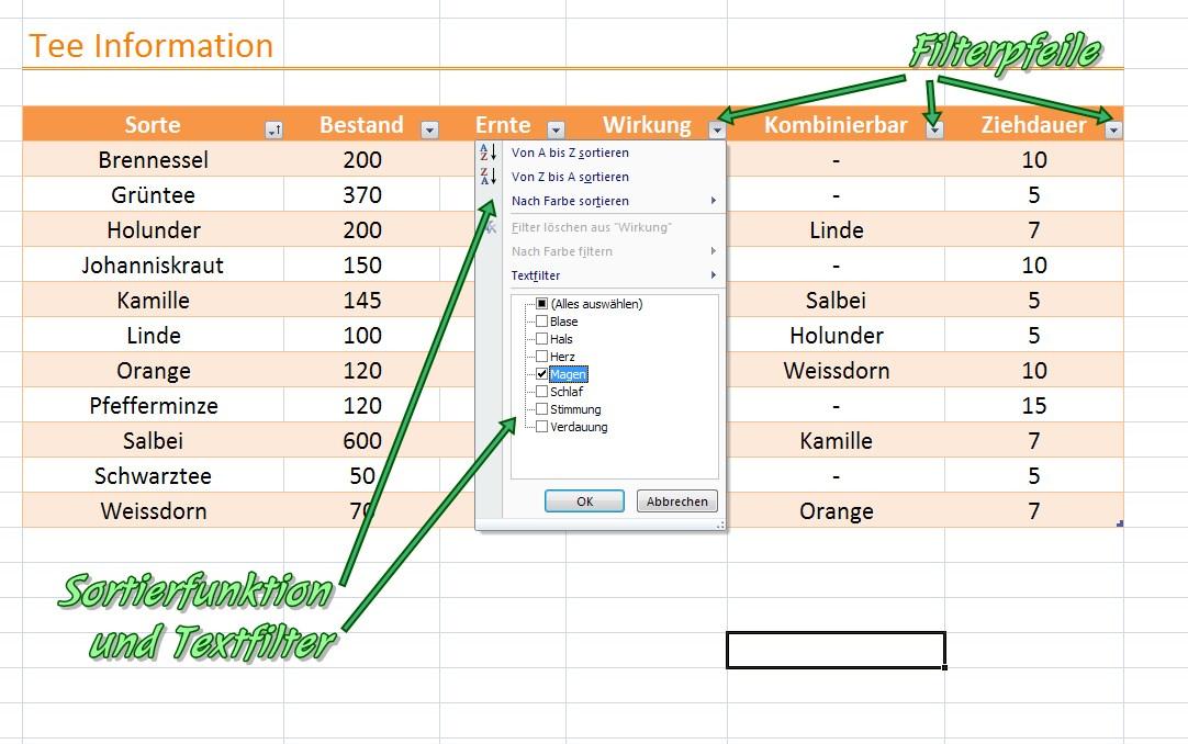 Em Excel Tabelle