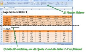 Excel Zeile fixieren