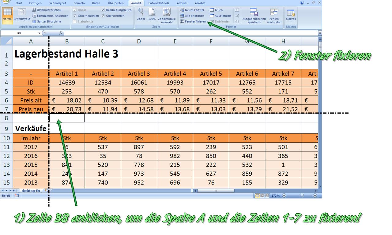 Fenster Fixieren Excel