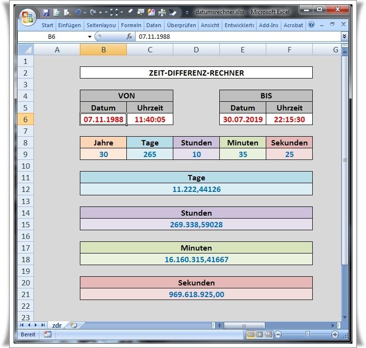 Datumsrechner - die Excelversion