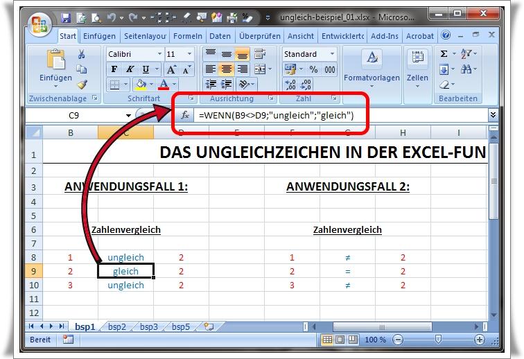 Excel Formel Zeichen
