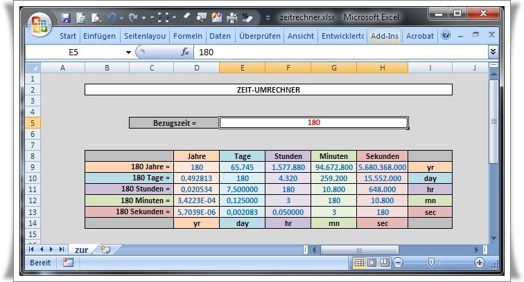Zeitrechner - Umrechnung von Jahren, Tagen, Stunden, Minuten und Sekunden